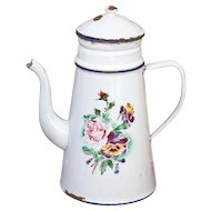 French Vintage XL Enamel Coffee Pot - 1920s Shabby Chic