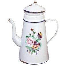 French Vintage XL Enamel Coffee Pot - 1920s Shabby Chic