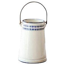 1930s French Enamel Milk Jug - Beige and Blue Lozenge Pattern - Shabby Chic Kitchen