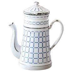 1930s French Enamel Coffee Pot with Filter - White and Blue Checkered Pattern - Shabby Chic Kitchen