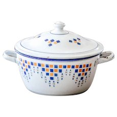 French Small Enamel Tureen - Art Deco 1930s - Country Kitchen Decor