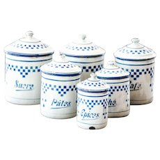 1920s French Enamel Nesting Canisters - Set of 6 - Art Deco - Lustucru Pattern