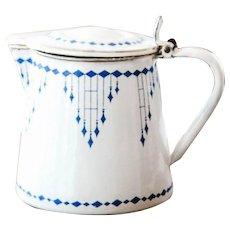 1920s French Enamel Milk Warmer - Checkered Pattern - Art Deco - BB Frères Austria