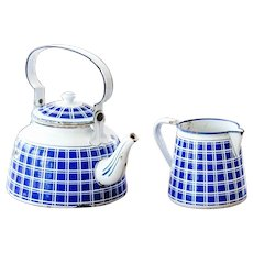 1920s French Enamel Kettle and Milk Pitcher - White and Blue Pattern - BB Frères - Blue 18195