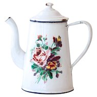 French Vintage Enamel Coffee Pot - 1920s Shabby Chic