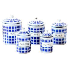 5 French Vintage Enamel Nesting Canisters - Art Deco 1920s - BB Frères - Blue 18195