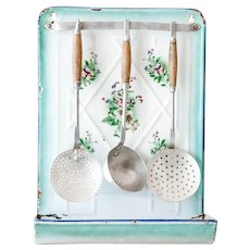 1920s French Enamel Utensil Holder - Pretty Pansies with 3 aluminum utensils - Country Chic Kitchen