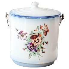 1920s French Enamel Pail with Lid - Pretty Pansies Decor - Shabby Chic Decor