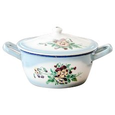 1930s French Enameled Tureen - Pretty Pansies Design - Shabby Chic Kitchen