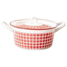 1920s French Enamel Stockpot - Art Deco - Red - BB Frères 18193
