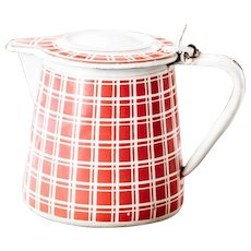 1920s French Enamel Milk or Tea Warmer - Art Deco - Red Checkered Pattern - BB Frères 18193