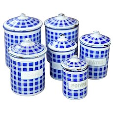 Complete Set of French Vintage Enamel Kitchen Nesting Canisters - Art Deco 1920s - BB Frères