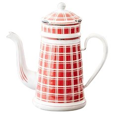 1920s French Enamel Coffee Pot - Art Deco - Red Checkered Pattern - BB Frères 18193