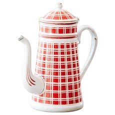 1920s French Enamel Coffee Pot - Art Deco - Red Checkered Pattern - Large Size - BB Frères 18193