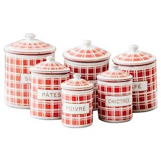 Complete Set of French Vintage Enamel Kitchen Nesting Canisters - Art Deco 1920s - Red Checkered Pattern - BB Frères 18193