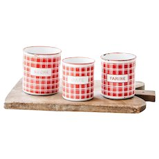 1920s French Enamel Kitchen Nesting Canisters - Set of 3 - Topless - Art Deco - Red Checkered Pattern - BB Frères 18193