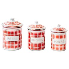 1920s French Enamel Kitchen Nesting Canisters - Set of 3 - Art Deco - Red Checkered Pattern - BB Frères 18193