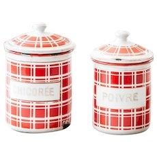 1920s French Enamel Kitchen Nesting Canisters - Set of 2 - Art Deco - Red Checkered Pattern - BB Frères 18193