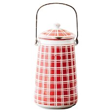 1920s French Enamel Milk Jug - Art Deco - Red Checkered Pattern - BB Frères 18193