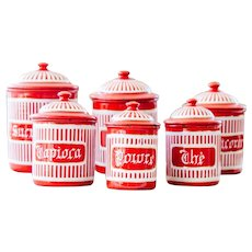 Complete Set of French Vintage Enamel Kitchen Nesting Canisters - Art Deco 1920s - Red and White Stripes Pattern