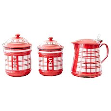 Vintage Canisters and Milk Warmer Set - Art Deco 1920s - Cheerful Red and White Checkered Pattern
