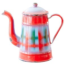 Vintage French Enamel Coffee Pot - Cheerful Red, Blue and Green Plaid Pattern
