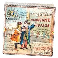 Antique advertisement bonbon box Haagsche Hopjes, Nieuwerkerk / van Haaren. Netherlands 1920. Square tin, with history on Baron Hop