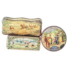 3 Vintage Pretty French Candle and Cookies Tins