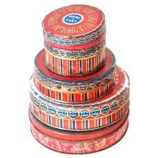 4 Vintage French Candy Tin - Vichy - Sucre d'Orge - Vintage French Red Tins