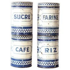 1930s French Set of 4 Tin Kitchen Canisters - Lustucru Checkered Pattern - Cream and Blue