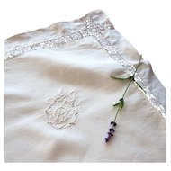 "Vintage French Pillowcase - Monogram G B - 31"" x 30"" - Metis: Cotton and Linen"