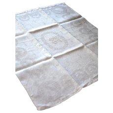 Set of 12 Vintage French Damask Napkins - Metis: Cotton and Linen - F F or L L Monogram - Laurel Wreath