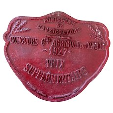 1927 French Agricultural Show Plate - Burgundy - Paris Annual Agricultural Show - French Farmhouse