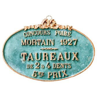image 0 image 1 image 2 image 3 1927 French Agricultural Show Plate - Green and Gold - French Farmhouse - Bull Category