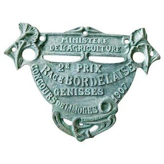 image 0 image 1 image 2 image 3 image 4 1907 French Agricultural Show Plate - Green - French Farmhouse - Heifer Category