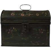 Vintage Tole Painted Toleware Chest Lunch Box