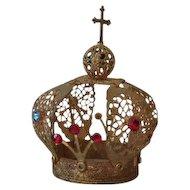 Vintage Italian gold filigree small santos crown, Infant of Prague corona
