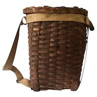 Adirondack child's woven splint pack basket with canvas straps