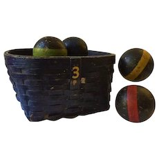 Vintage work basket in old blue paint with mustard yellow number 3s