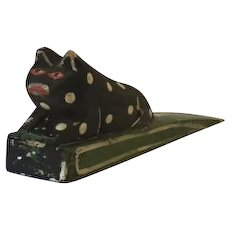 Folk art carved and painted cat doorstop
