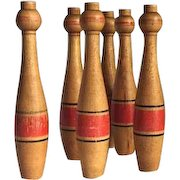 Set of 6 vintage toy bowling pins in the French skittles style