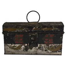 Early tole painted biscuit tin box