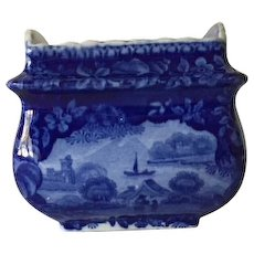 Blue and white sugar bowl, Staffordshire pastoral scene