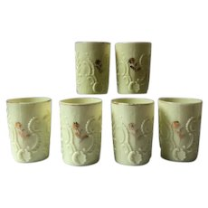 Set 6 Northwood Louis XV custard glass tumblers