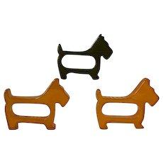 Set of 3 Scottie dog Bakelite napkin rings