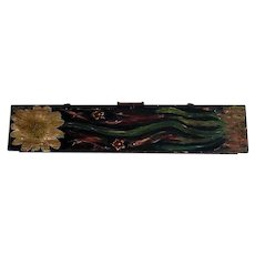 Painted folk art long wooden carrying case
