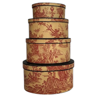Set of 4 nested red toile boxes, artist made