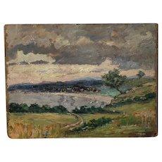 Maine coastal scene vintage oil painting