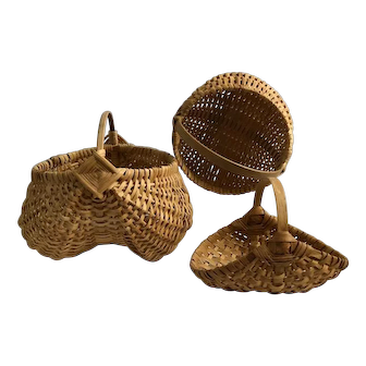 Group of 3 artisan baskets in classic styles
