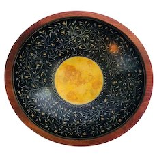 Contemporary Artisan Glazed & Gilded Wood Decorated Bowl